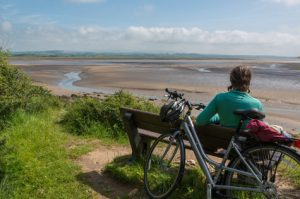 Cyclist on Silverdale bench
